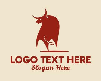 Chinese Horoscope - Red Bull Ox   logo design