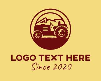 Maroon - Rustic Farm Tractor logo design