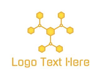 Yellow Bee - Molecular Hive logo design