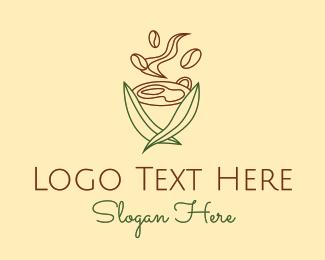 Leafy - Minimalist Leafy Coffee  logo design