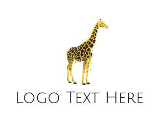 Watercolor - Painted Giraffe Art logo design