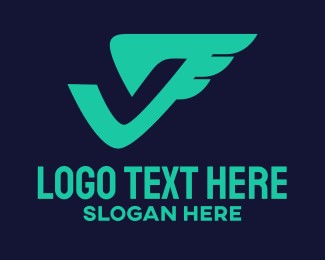 Postal Service - Aviation Letter V logo design