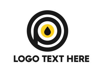 Gasoline - Black & Yellow Drop  logo design