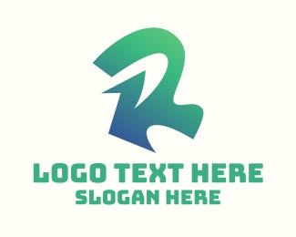 Laundry Shop - Gradient Green Letter R logo design