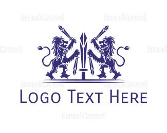 Medieval - Medieval Blue Lions  logo design