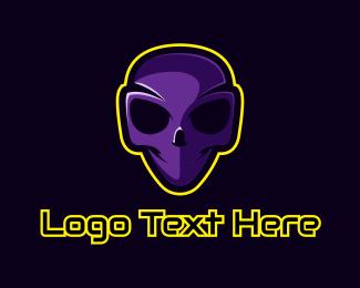 Alien - Violet Alien Skull logo design