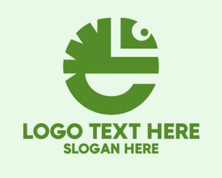 Chameleon - Letter E Lizard logo design