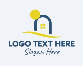 Cottage - Sunset Sea House logo design