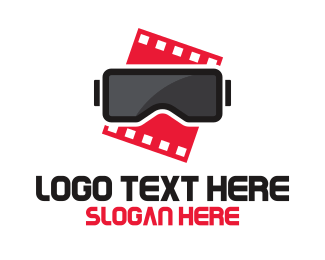 Blockbuster - VR Movie Film logo design