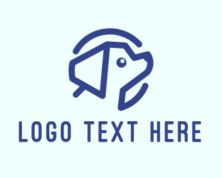 Pet Animal - Blue Puppy Dog logo design