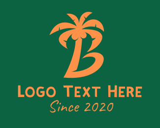 Coconut Tree - Coconut Tree Letter B logo design