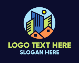 Town - Colorful Cityscape Realty logo design