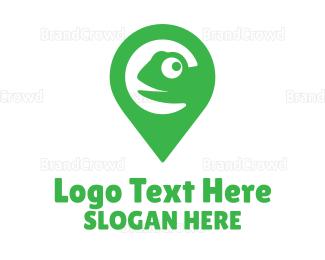 Camouflage - Green Pin Chameleon logo design
