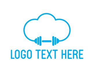 Weight - Cloud Gym logo design