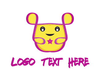 Rodent - Yellow Mouse Cartoon logo design