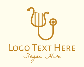 String Instrument - Golden Classical Harp Stethoscope logo design