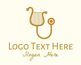 Classical Music - Golden Classical Harp Stethoscope logo design