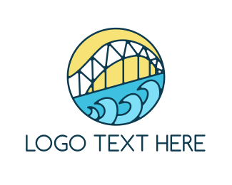 Golden Gate - San Francisco Bay Bridge Wave logo design