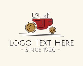 Tractor - Vintage Farm Tractor logo design