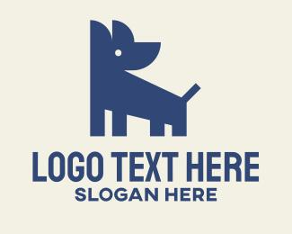 Furries - Blue Geometric Dog logo design