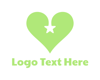 Green Heart - Green Star Heart logo design