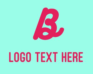 80s - Neon Magenta Letter B logo design