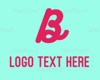 Calligraphy - Neon Magenta Letter B logo design