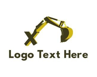 Bulldozer - Excavator Letter X logo design
