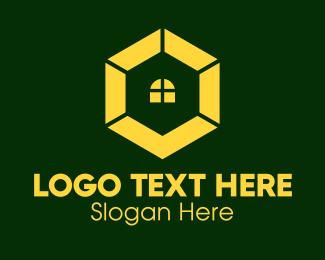 Home Service - Yellow Hexagon Window logo design