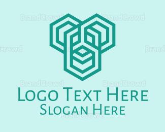 Outlines - White Hexagons logo design