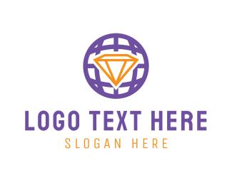 International - Diamond Globe logo design