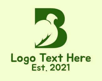 """Green Bird Letter B"" by MDS"