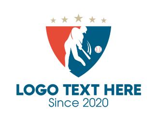 Pitcher - Baseball Tournament Shield logo design