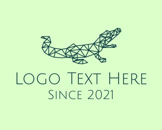 Cocoon - Simple Crocodile Line Art logo design