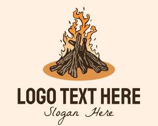 Fire - Outdoor Fire Wood  logo design