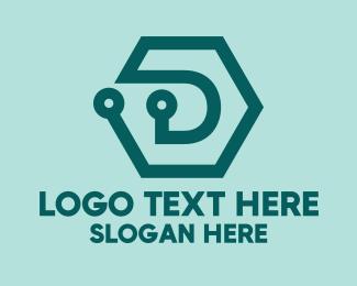 Digital Printing - Blue Digital Hexagon logo design