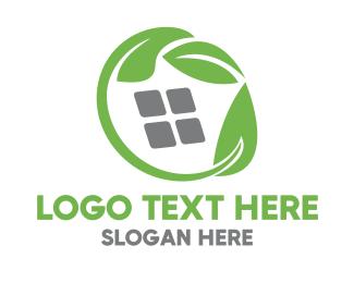 Root - Green Leaves & Squares logo design