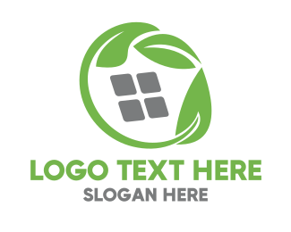 Eco-friendly - Green Leaves & Squares logo design