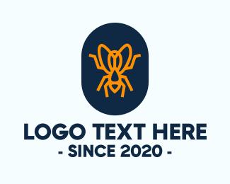 Mosquito - Orange Fly Badge logo design