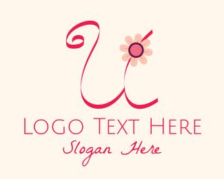Calligraphy - Pink Flower Letter U logo design