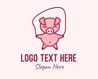 Pig Feed - Piglet Jumping Rope logo design