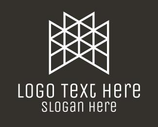 Truss - Triangle Letter M Outline logo design