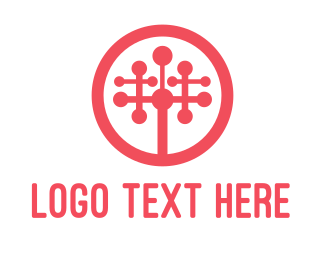 Industrial Red Tech Tree logo design