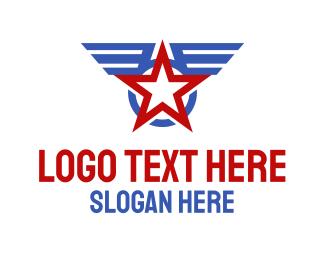 Winged - Winged Star Badge logo design