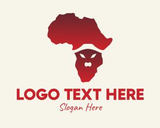 Africa Map - African Animal Map  logo design