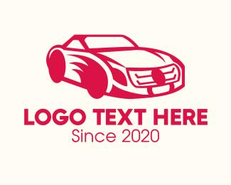 Car Racing - Red Sports Car logo design
