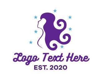 Hairdressing - Purple Curls logo design