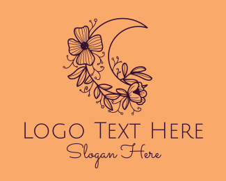 Events - Elegant Floral Moon logo design