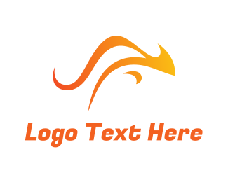 Fire - Orange Australian Kangaroo logo design