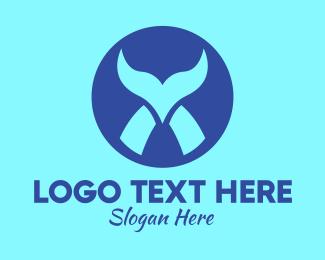 Sea Animal - Blue Tail Circle logo design